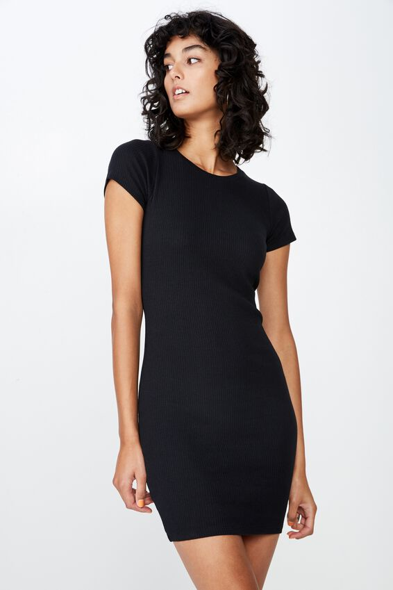 Lucia Rib Tee Mini Dress, BLACK