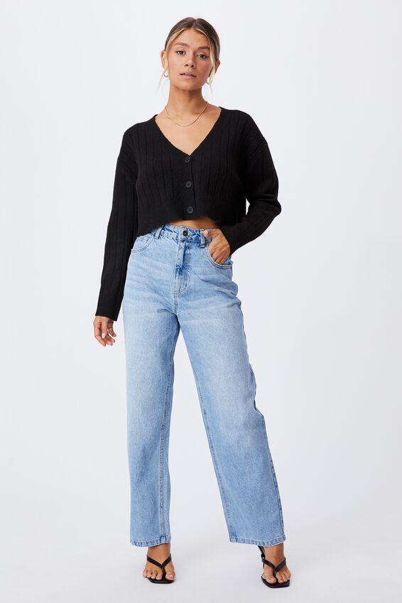 Ella Slouchy Crop Cardigan, BLACK