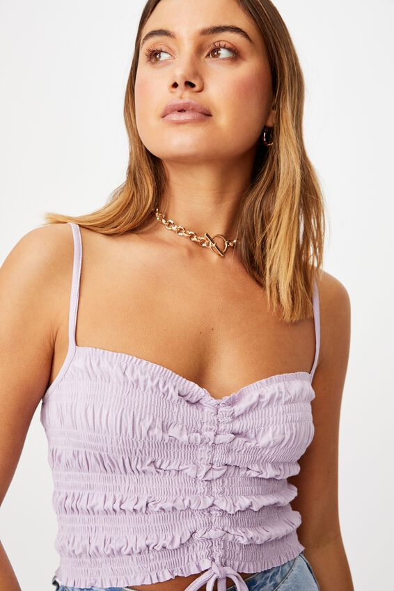 Casey Shirred Bodice Cami, ORCHID ROSE