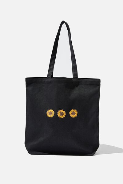 Canvas Tote, WASHED BLACK/SUNFLOWER