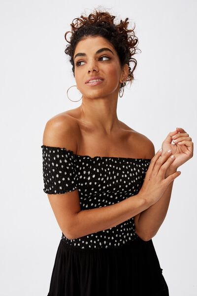 Kirsty Shirred Off The Shoulder Top, DAISY DITSY BLACK