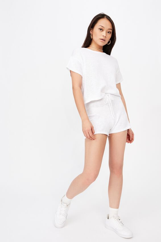 Brittany Knit Short Co Ord, WHITE