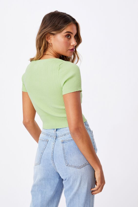 Liv Short Sleeve Button Through, APPLE GREEN