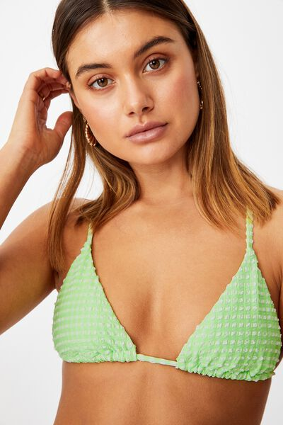 Maui Tri Slide Bikini Top, SOFT LIME/WHITE GINGHAM TEXTURE
