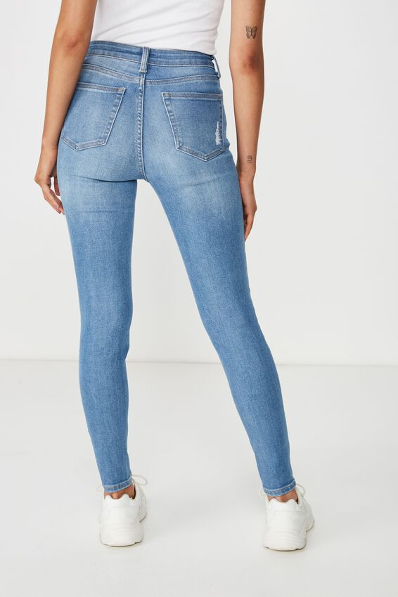 Skinny Premium High Rise Ripped Jean, BALTIC BLUE
