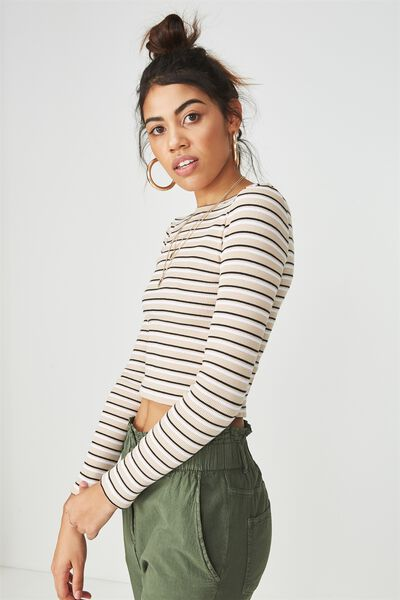Long Sleeve Fitted Rib Top, STONE STRIPE