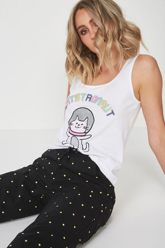 Sleep Wear Tank, WHITE/CATSTRONAUT