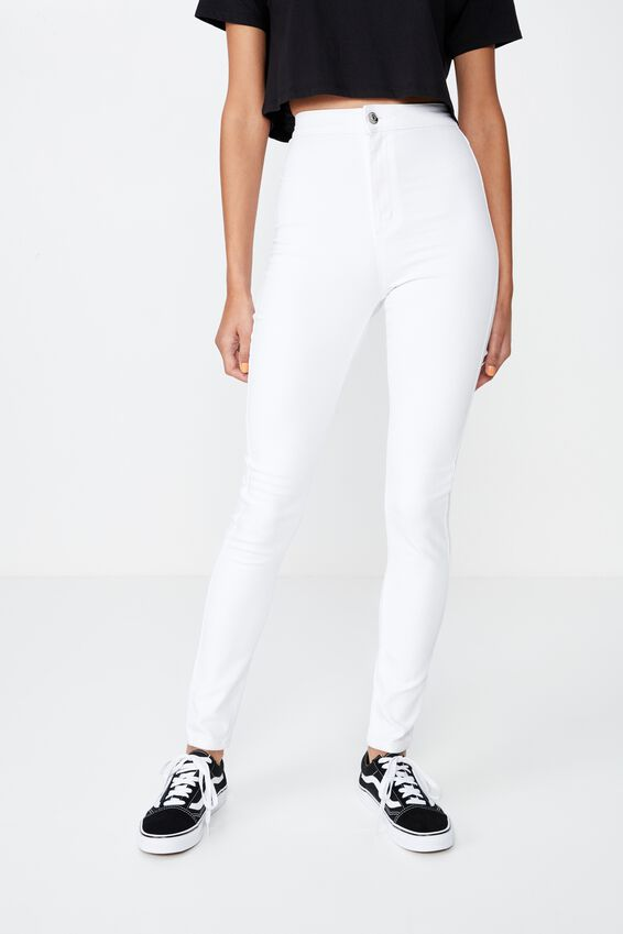 Long Super Skinny Sky High Jean, WHITE