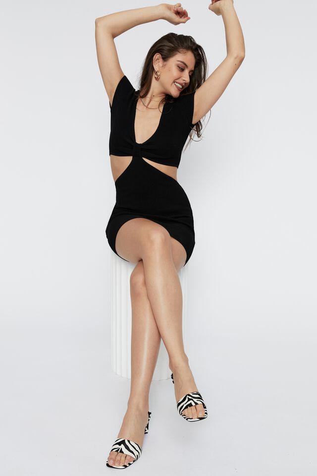 Evie Short Sleeve Cut Out Mini Dress, BLACK