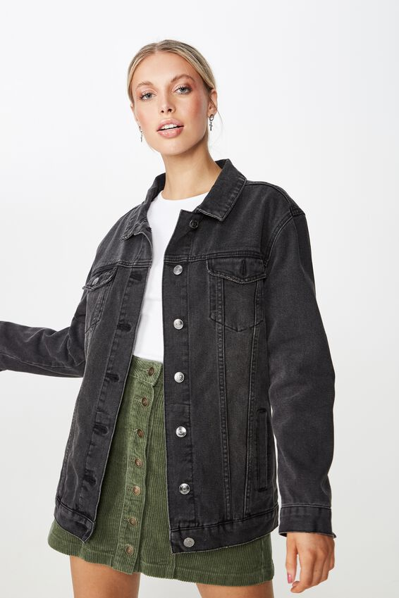 Vintage Boyfriend Denim Jacket, VINTAGE WASHED BLACK