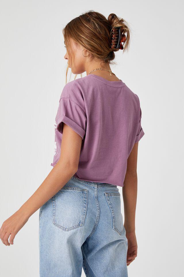 Tamara Printed Crop T Shirt, ICED PLUM/PLANETS