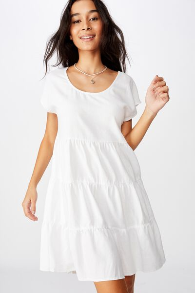 Peggie Tiered Dress, WHITE