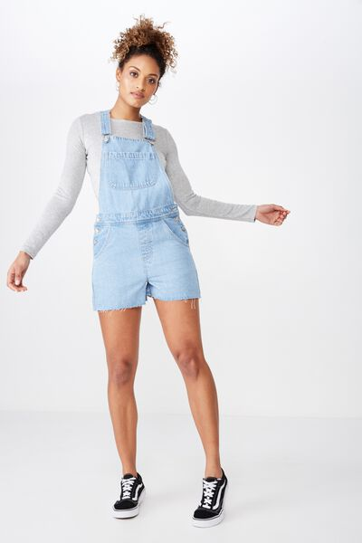 Aline Denim Dungaree, MID BLUE