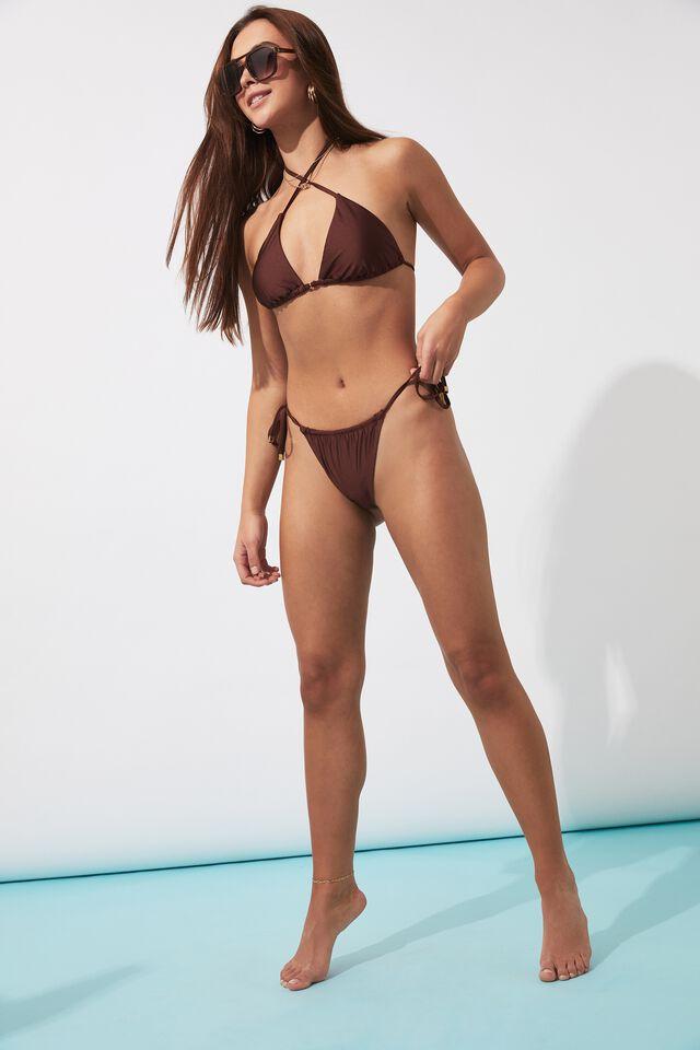 Addison Gathered Bikini Bottom, COCOA BUTTER