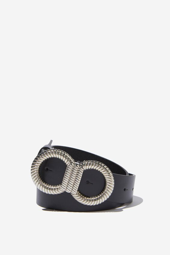 Twist Double Circle Belt, BLACK/SILVER