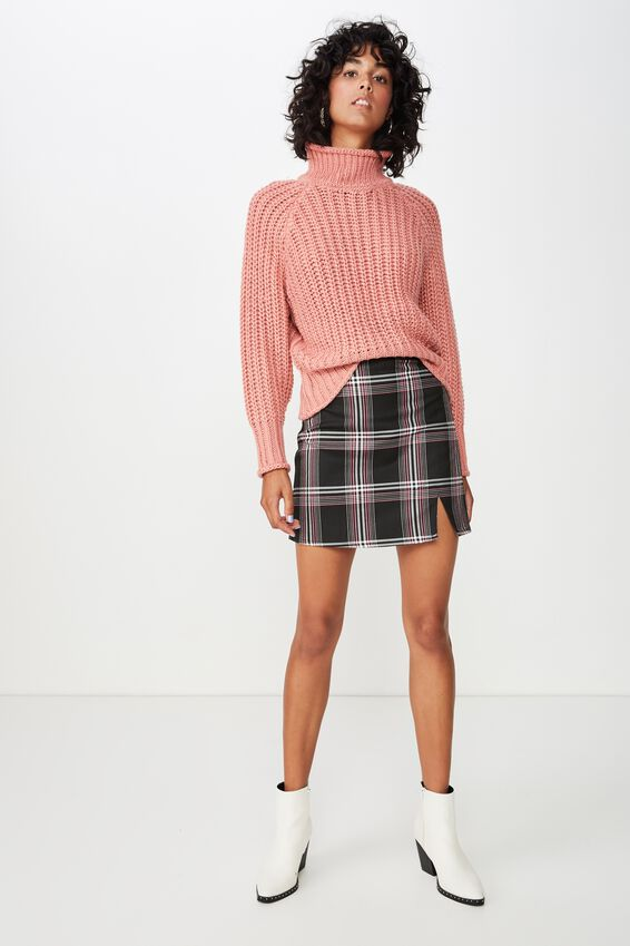 Lily Long Sleeve High Neck Knit, LILY PINK