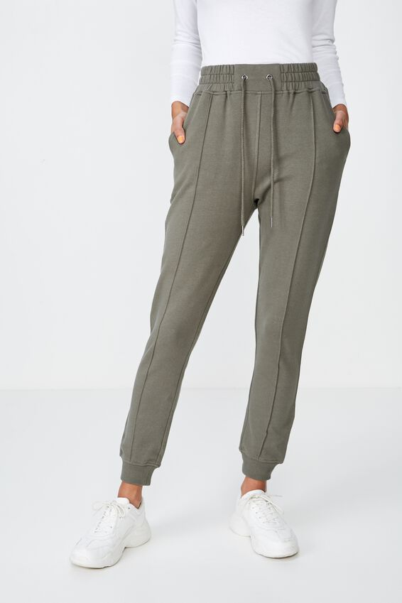 Robyn Pin Tuck Sweat Pant, GUM LEAF KHAKI