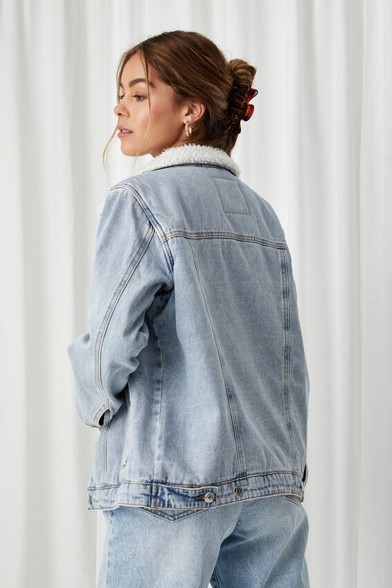 Denim Faux Sherpa Jacket, VINTAGE BLUE FADE
