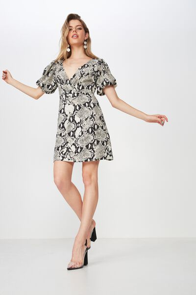 Wrap Front Puff Sleeve Dress, QUEEN PYTHON
