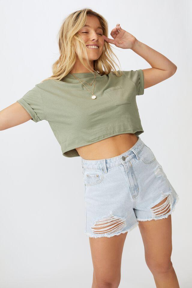 Ciara Crop T-Shirt, DUST KHAKI