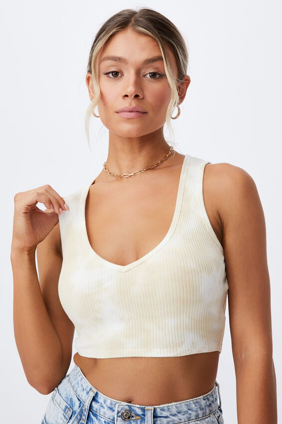 Evalyn V Neck Crop Tank, BUTTERMILK/WHITE SPLOTCH TIE DYE