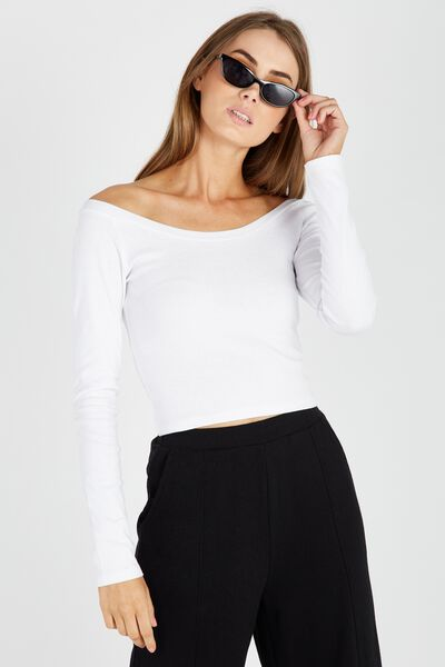 Long Sleeve Scoop Neck Top, WHITE