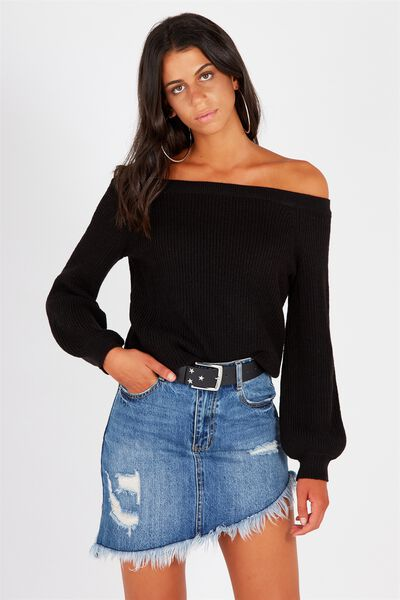 Off Shoulder Bell Sleeve Knit, BLACK