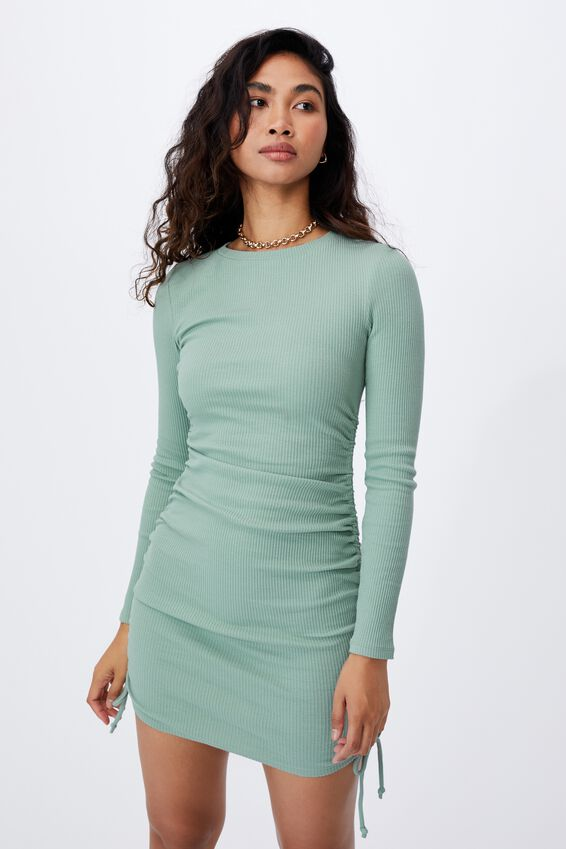 Frida Long Sleeve Mini Dress, SOFT MOSS GREEN
