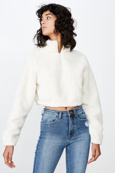 Teddy Crop Jumper, CREAM PUFF