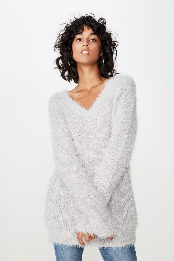 Mia V Neck Knit, LIGHT GREY