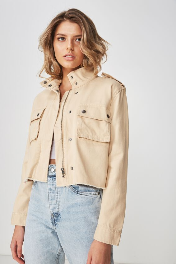 Crop Utility Jacket, CAMEL