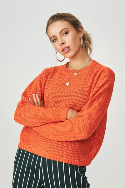 Alice Waffle Knit Top, ORANGE