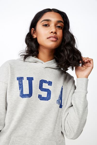 Katy Slouch Sweat, GREY MARLE/USA