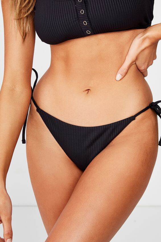 Bells Tie Side Bikini Bottom, BLACK RIB