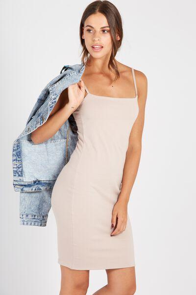 Basic Square Neck Cami Dress, STONE