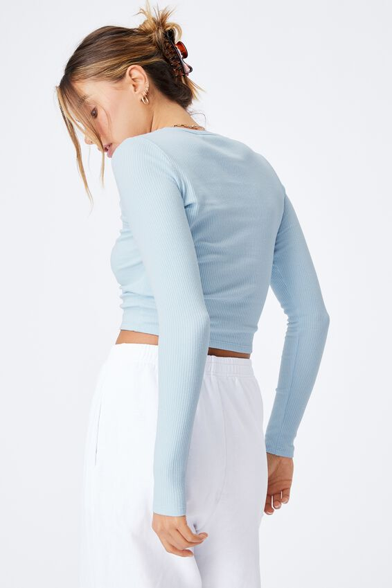 Aspen Long Sleeve Rib Top, PEARL BLUE