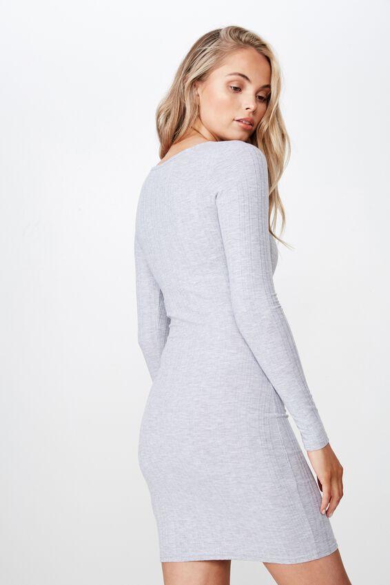 Arya Long Sleeve Button Dress, GREY MARLE