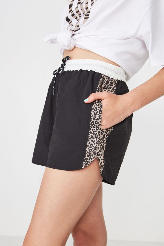 Retro Sport Short, WHITE/LEOPARD