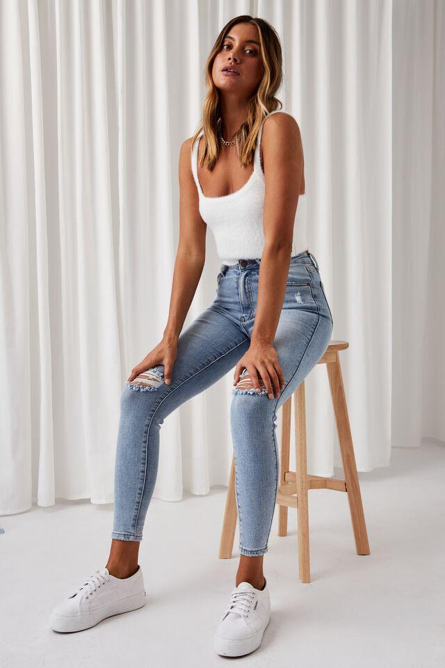 Skinny Premium Ripped Jean, BLUE BREEZE