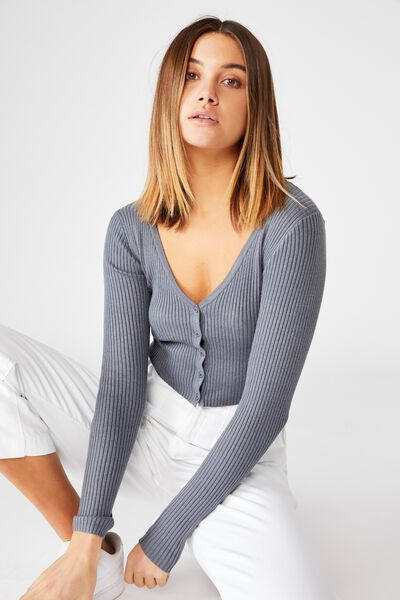 Olive Long Sleeve V Neck Cardi Knit, CEMENT GREY