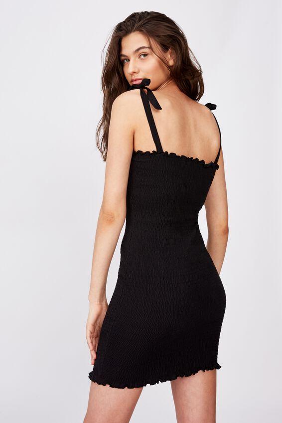 Sophie Shirred Tie Strap Dress, BLACK