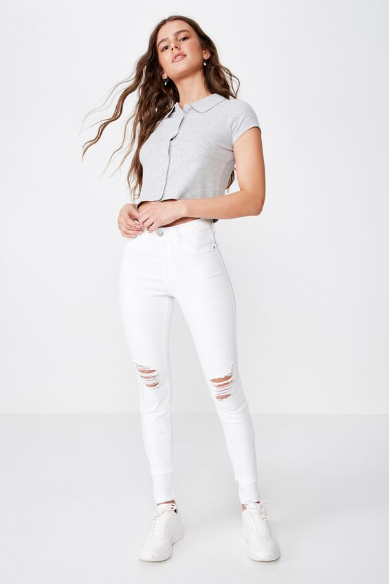 Long Super Skinny Ripped Jean, WHITE RIPPED