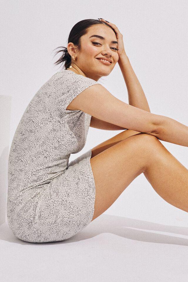 Lucia Rib Tee Mini Dress, DONNA ALMOND MILK