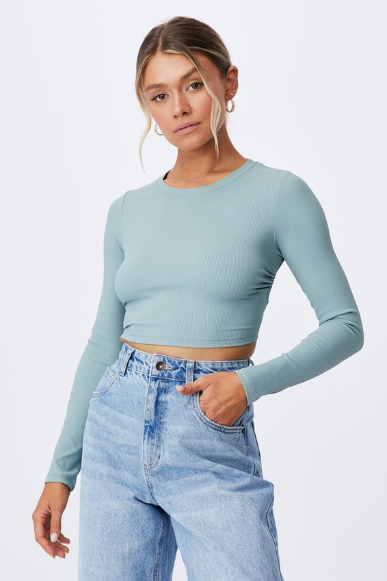 Ariel Backless Long Sleeve Top, WILLOW GREEN