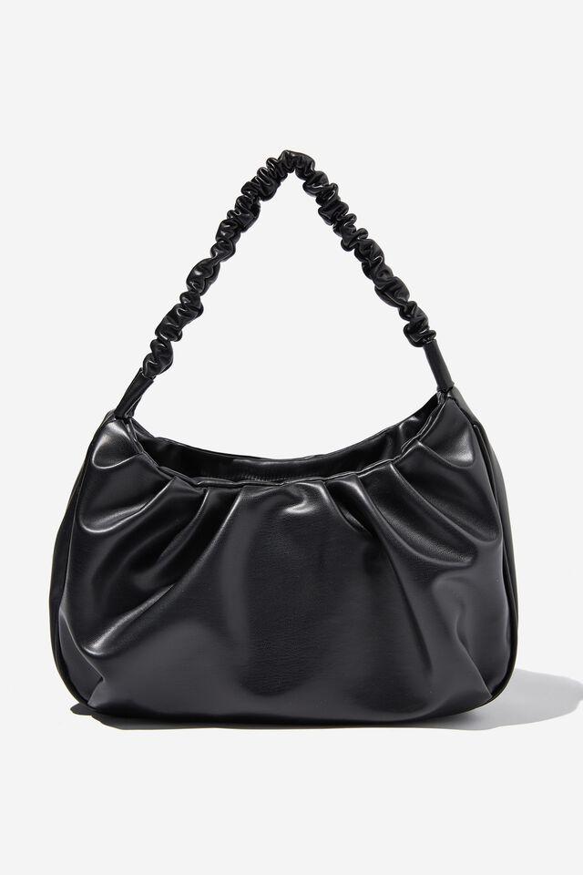 Carmen Ruched Shoulder Bag, BLACK