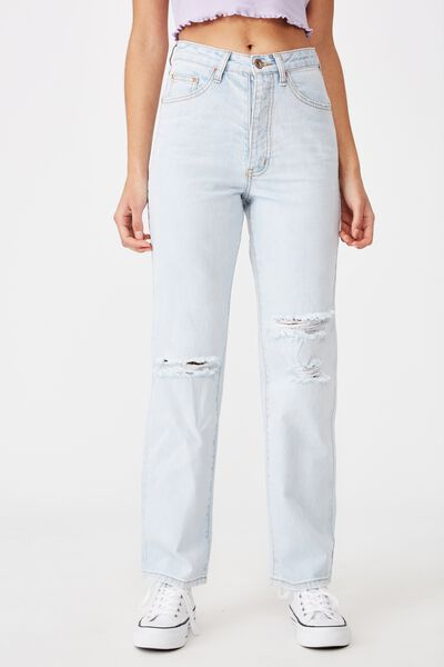 High Rise Straight Ripped Jean, ICE BLEACH BLUE SLASH