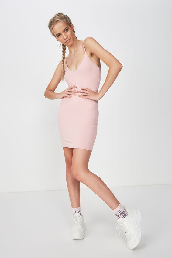 Deep V Double Layer Mini Dress, MAUVE PINK