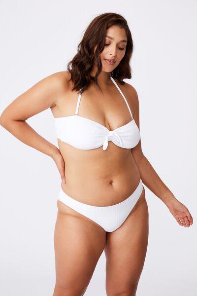 Cape Cod Bandeau Bikini Top, WHITE/WIDE RIB