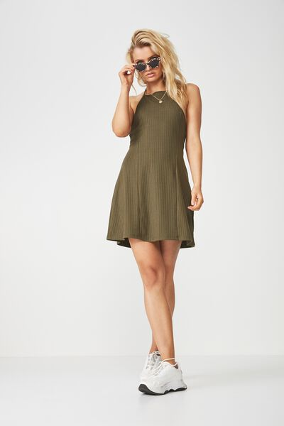 Rib Halter Flare Dress, KHAKI