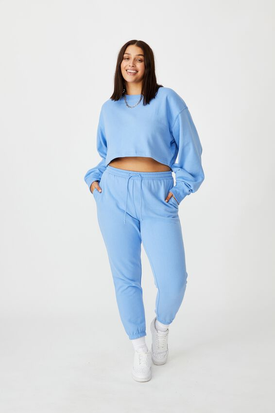 Crop Crew Neck Jumper, BRIGHT BLUE